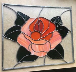 Stained Glass Leaded Window Panel Textured And Patterned Rose Blossom