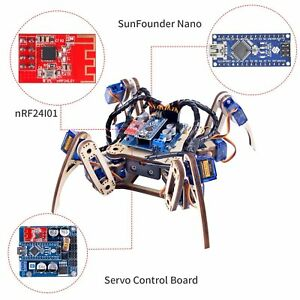 Sunfounder Remote Control Crawling Quadruped Robot Model V2 0 Diy Wooden Kit