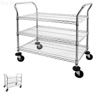 Mobile Wire Shelving 3 Tier Utility Cart With Wheels 800 Lb Maximum Capacity