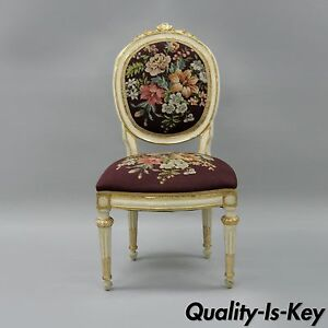 Antique French Louis Xvi Style Carved Floral Needlepoint Accent Chair White Gold