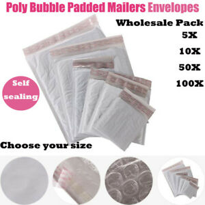 Free Shipping 5 20 50 100pcs Poly Bubble Mailers Padded Envelopes Bags