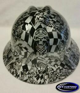 Silver Speed Demon Msa V gard full Brim Hard Hat W fastrac