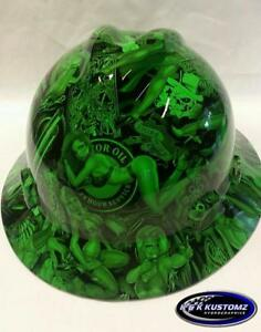 Neon Green Naughty Boy Msa V gard full Brim Hard Hat W fastrac