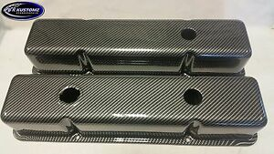 New Custom Sbc Small Block Chevy Carbon Fiber Valve Cover Set