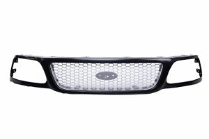 Grille Black Shell W Silver Honeycomb Insert For 1999 2004 Ford F 150 Pickup
