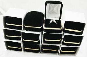 12 Pc Black Velvet Rings Jewelry Gift Boxes With Brass Rim Wholesale