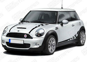 Mini Cooper Checkered Hood Sides Back Stripes Decals 2012 2013 2014 Pro Motor