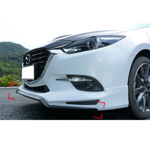 Carbon Fiber Front Bumper Lip Lower Chin Fit Protecter For Mazda 3 Axela 2014 17