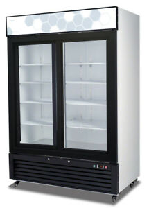 Migali C 49rs hc 49 Cu ft Ss Reach In Refrigerator Two Sliding Glass Doors