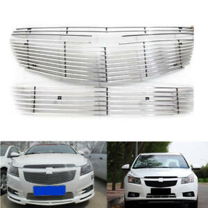 For Chevrolet Cruze 2009 2014 3pcs Front Mesh Grill Grille Horizontal Stripes