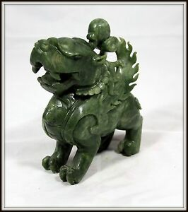 Amazing Detail Hand Carved Chinese Green Jade Winged Foo Dog 6 5 H X 2 W