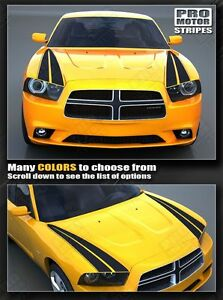 Dodge Charger Racing Hood Side Accent Stripes Decals 2011 2012 2013 2014