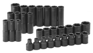 Sk 4053 30 Piece 1 2 Dr 6 Point Standard And Deep Metric Impact Socket Set