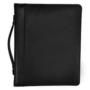 Samsill Leather Portfolio Zipper Closure 1 Inch Ring Binder Carry Handle 8 5