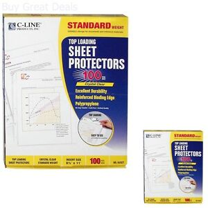 100 C line Clear Sheet Page Protectors 8 5x11 Poly Plastic Top Load New