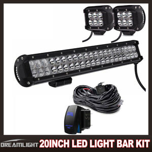 20 Inch Led Light Bar Combo 4inch Work 4x4 Off Road For Truck Jeep Suv 22