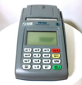 First Data Fd100 Credit Card Terminal Machine No Power Cord Untested
