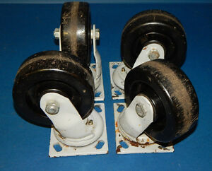 Lot Of 4 Fairbanks Company 322 5 A37 Swivel Heavy Duty Caster Wheels 3225a37