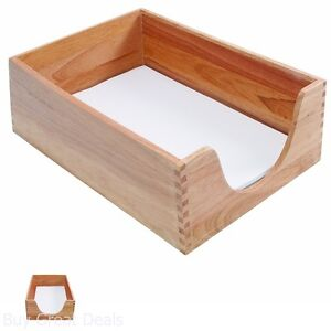 Deep Hard Wood Desk Tray In Legal Size Stackable File Paper Document Organizer