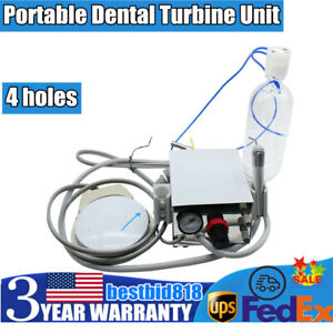 Usa Portable Dental Turbine Unit Work With Air Compressor 4 Hole Triplex Syringe