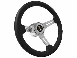 Ford Mustang 6 Bolt Black Leather Steering Wheel Kit Flaming River Adapter