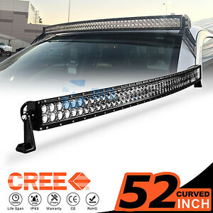 52 Inch 500w Cree Led Curved Work Light Bar Flood Spot Driving Offroad 4wd Truck