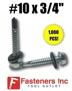 1000 Hex Rubber Washer Head 10 X 3 4 Self drilling Roofing Siding Screw Zinc