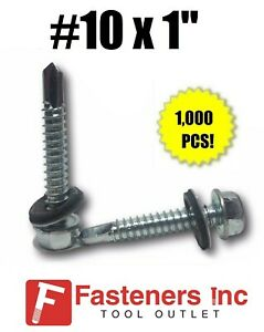 1000 Hex Rubber Washer Head 10 X 1 Self drilling Roofing Siding Screw Zinc