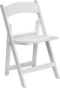 Lot Of 20 White Wood Folding Chairs Vinyl Padded Seat