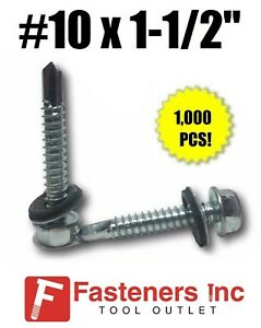 1000 Hex Rubber Washer Head 10 X 1 1 2 Self drilling Roofing Siding Screw Zinc