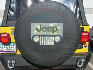 Jeep Wrangler Black Denim Spare Tire Cover With Woodland Camo Jeep Logo New