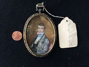 Antique Oval Painting On Bone Silver Picture Frame Gold Wash