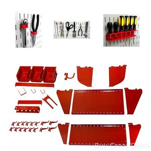 Slotted Tool Board Workstation Accessory Kit For Wall Control Pegboard Only Red