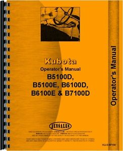 Kubota B7100d Tractor Loader Attachment Only Operators Manual