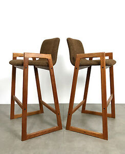 Vintage Mid Century Danish Modern Teak Bar Stools Brown Tweed Counter Stools