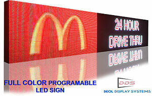 Full Color Led Sign Program Digital Scroll Board 12 x76 Open Close Neon Outdoor