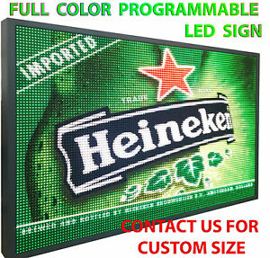 Outdoor Full Color Led Sign Program Digital Scroll Board 25 x76 Open Neon Sign