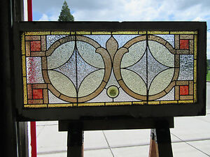 Antique American Stained Glass Window 48 X 24 Architectural Salvage