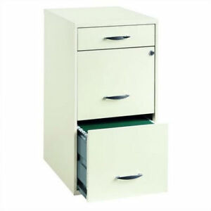 Steel Cabinet File 3 Drawer Office Storage Filing Home White Metal Organizer