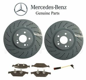 For Mercedes W212 E550 Set Of 2 Front Brake Disc Rotors W Brake Pads