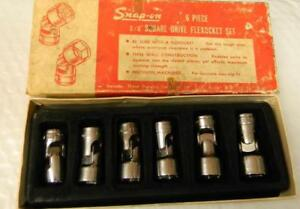 Vintage Snap on 3 8 Drive 6pc Sae 6pt Shallow Universal Socket Set 206afs