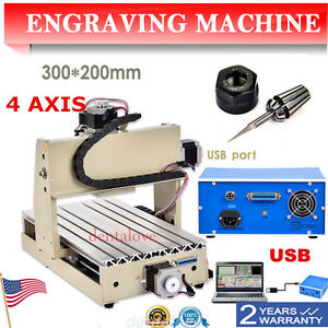 4 Axis Cnc Router Engraver 3d Engraving Drilling Milling Machine 300w 3020 Mach3