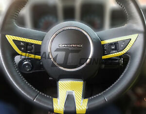 2010 2012 Camaro Yellow Carbon Fiber Full Steering Wheel Accent Decal Cover Wrap