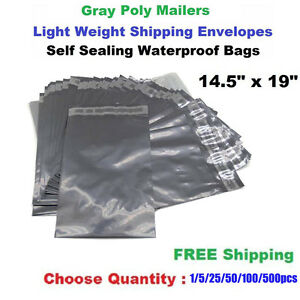 14 5 x19 Poly Mailers Shipping Envelopes Self Sealing Plastic Mailing Bags Grey
