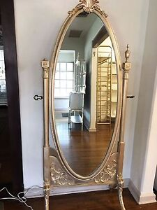 Antique Floor Standing Tall Swivel Metallic Silver Champagne Wood Ornate Mirror