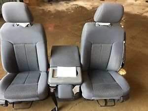 99 16 Ford F250 Super Duty Front Seats W console Grey Cloth Manual