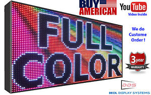 Full Color Led Sign Program Digital Scroll Board 19 x76 Open Close Sign