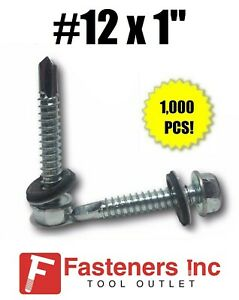 1000 Hex Rubber Washer Head 12 X 1 Self drilling Roofing Siding Screw Zinc