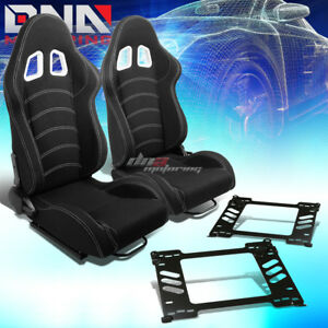 Pair Of Black Cloth White Dual Stitch Racing Seat Bracket Fit 91 95 Honda Civic