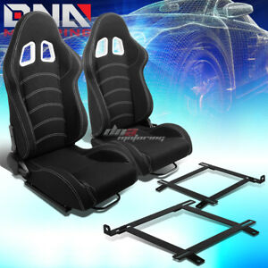 2x Black Cloth White Dual Stitch Racing Seat low Mount Bracket Fit 99 04 Mustang